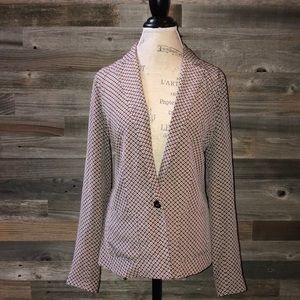 Joie silk geometric print one button blazer M
